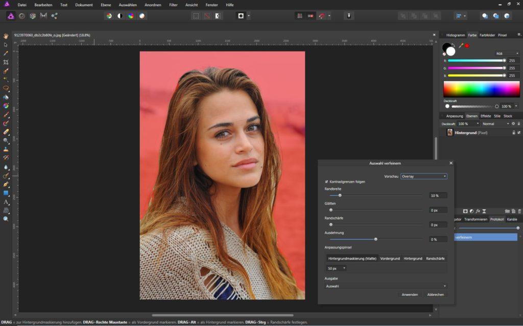 Das Affinity Photo Auswahlwerkzeug